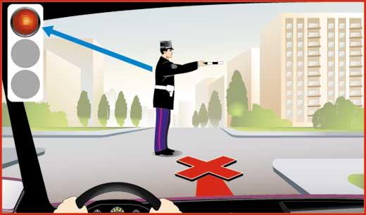 Сигналы регулировщика - правая рука вытянута вперед. Движение справа запрещено.