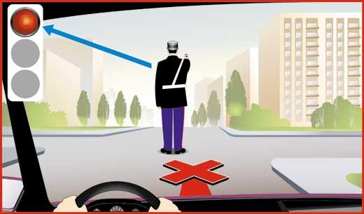 Сигналы регулировщика - правая рука вытянута вперед. Движение со стороны спины запрещено.
